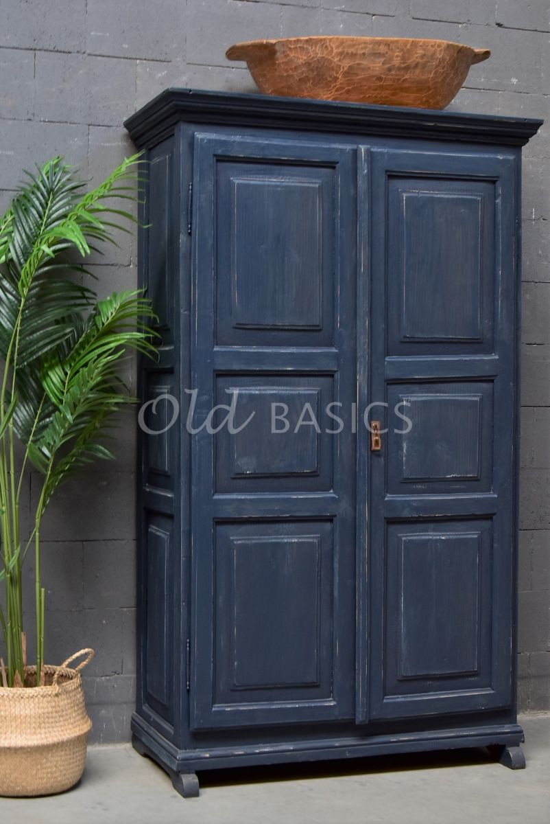 Brocante kast, blauw, materiaal hout