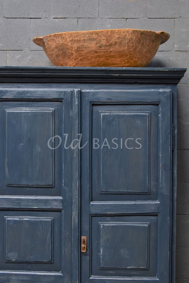 Detail van Brocante kast, blauw, materiaal hout
