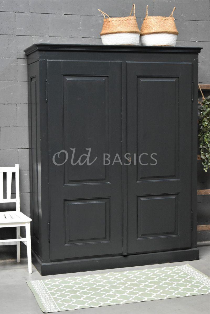 Kledingkast, zwart, grijs, materiaal hout
