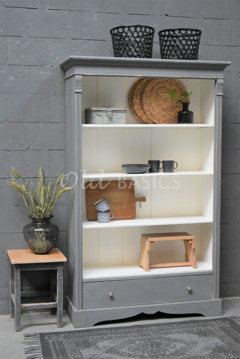 Boekenkast, grijs, materiaal hout