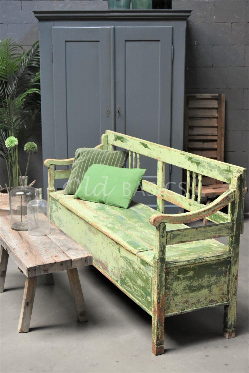 Klepbank, groen, materiaal hout