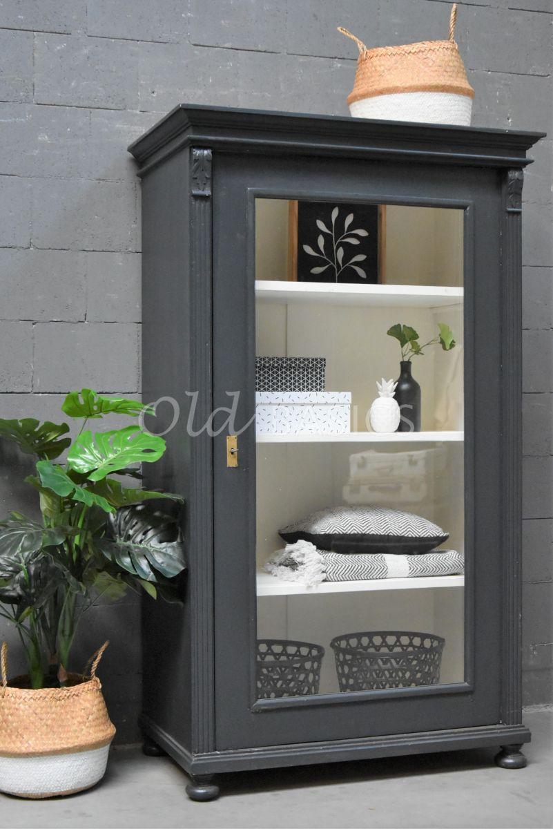 Vitrinekast, zwart, grijs, materiaal hout