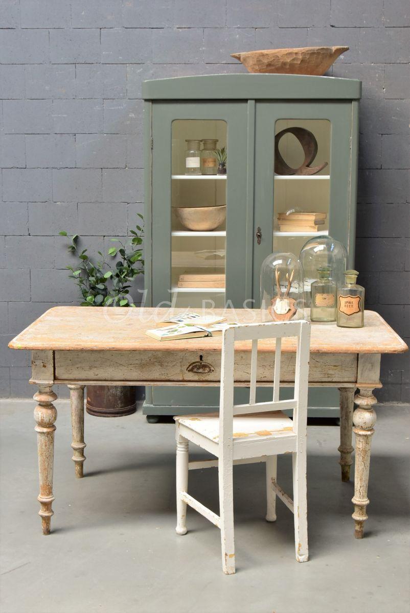 Eettafel, naturel, wit, materiaal hout