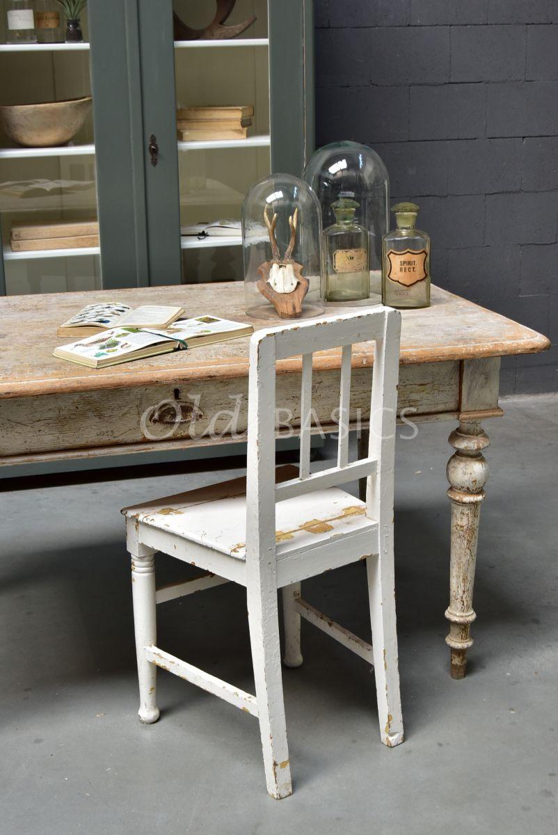 Detail van Eettafel, naturel, wit, materiaal hout