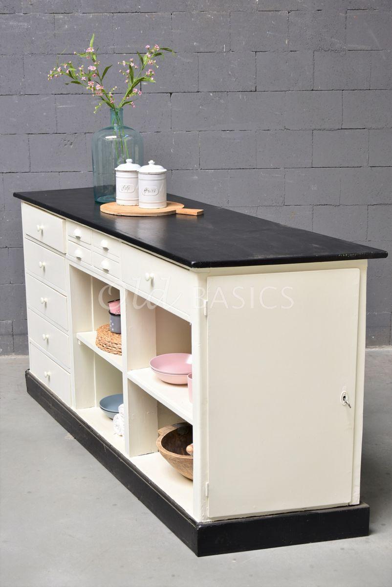 Toonbank, wit, zwart, materiaal hout