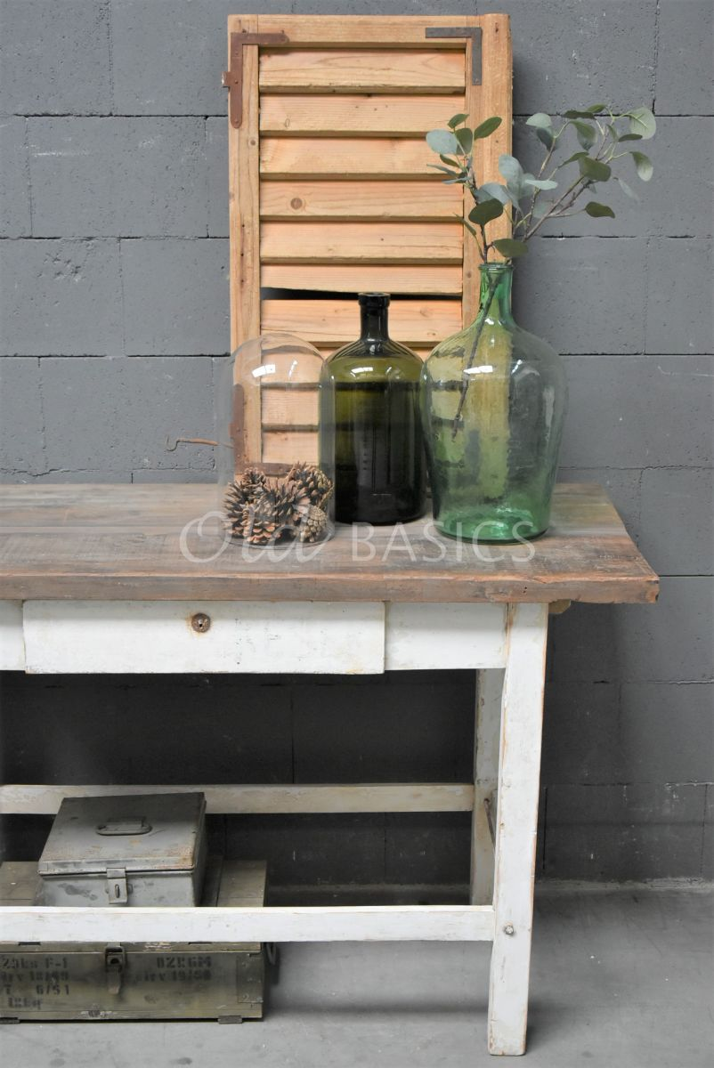 Detail van Sidetable, wit, naturel, materiaal hout