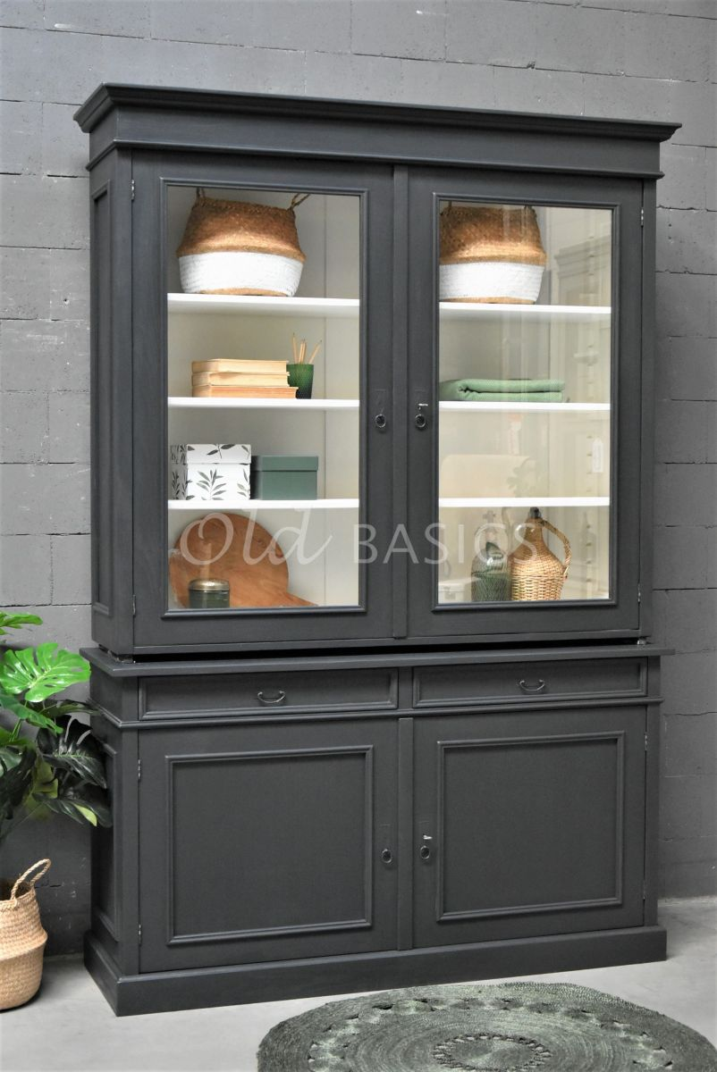 Servieskast, 2 deuren, RAL7021, zwart, grijs, materiaal hout