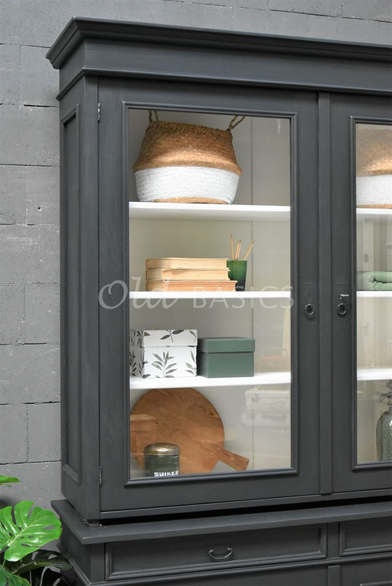 Detail van Servieskast, 2 deuren, RAL7021, zwart, grijs, materiaal hout