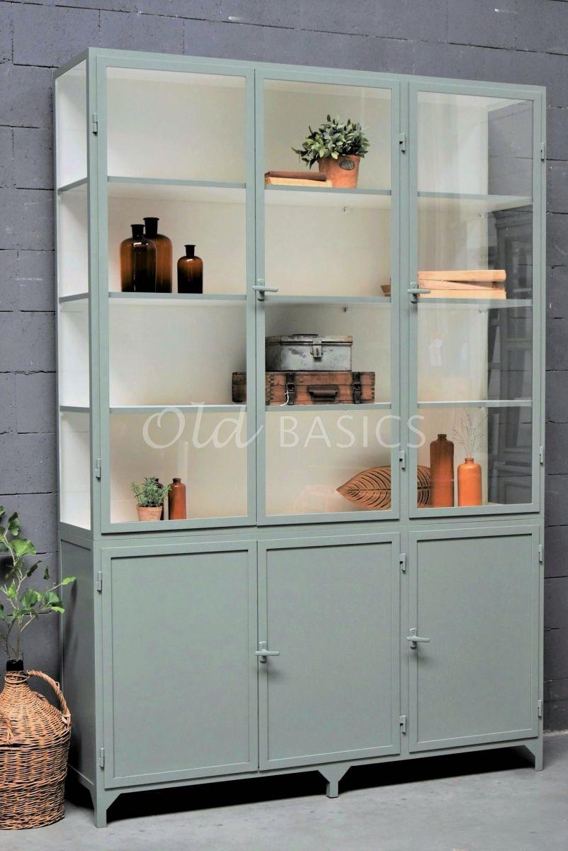 Apothekerskast Demi, 3 deuren, RAL7033, groen, grijs, materiaal staal