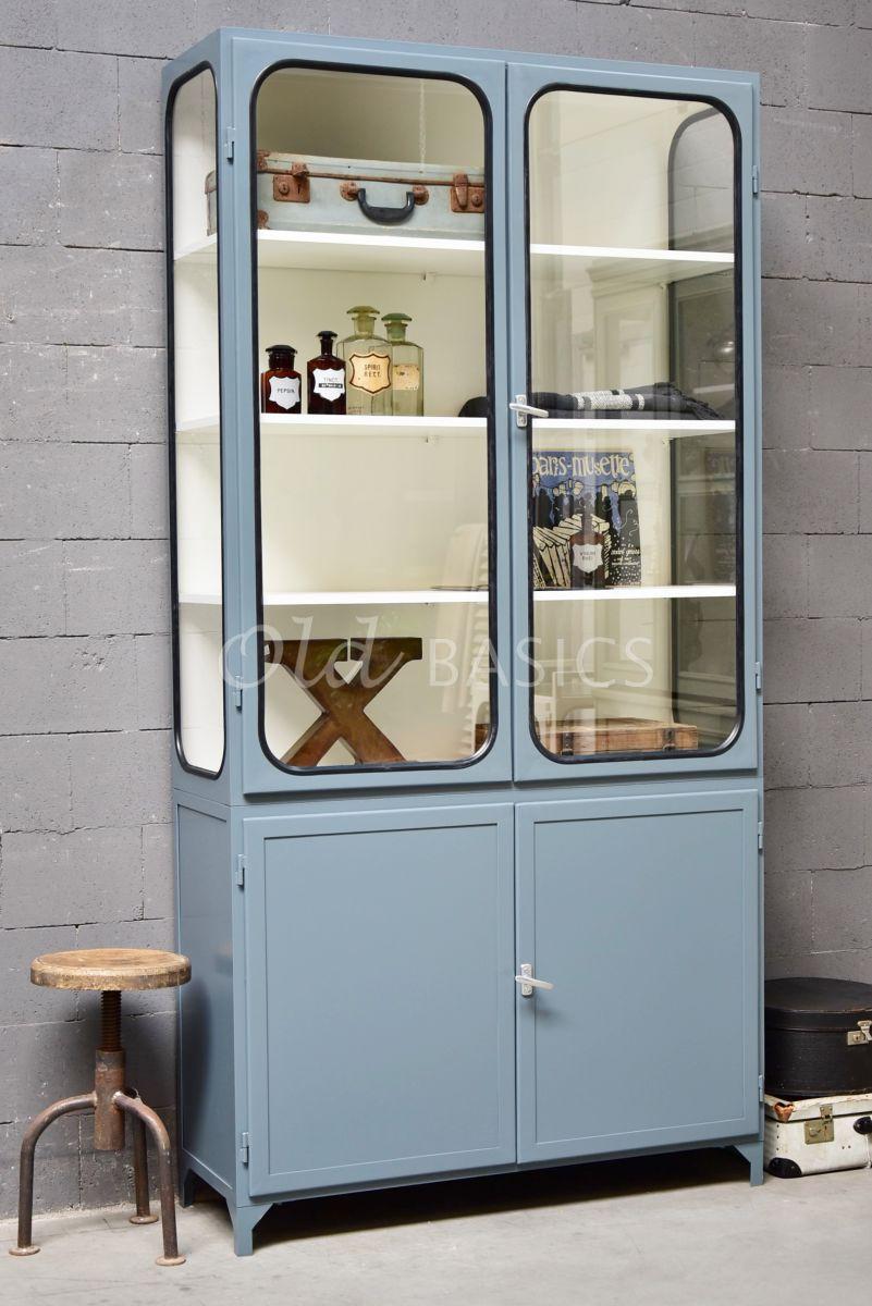 Apothekerskast Retrique, 2 deuren, RAL7031, blauw, grijs, materiaal staal