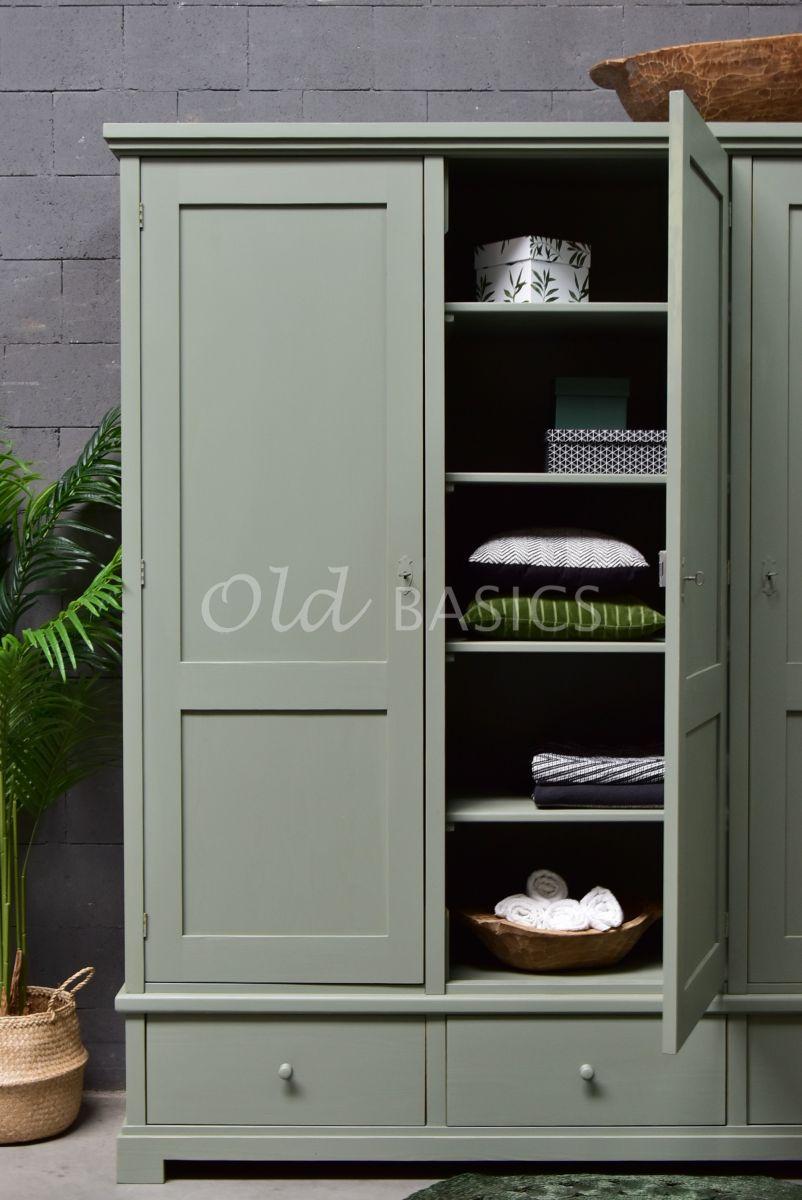 Detail van Linnenkast Avignon, 3 deuren, RAL7033, grijs, groen, materiaal hout