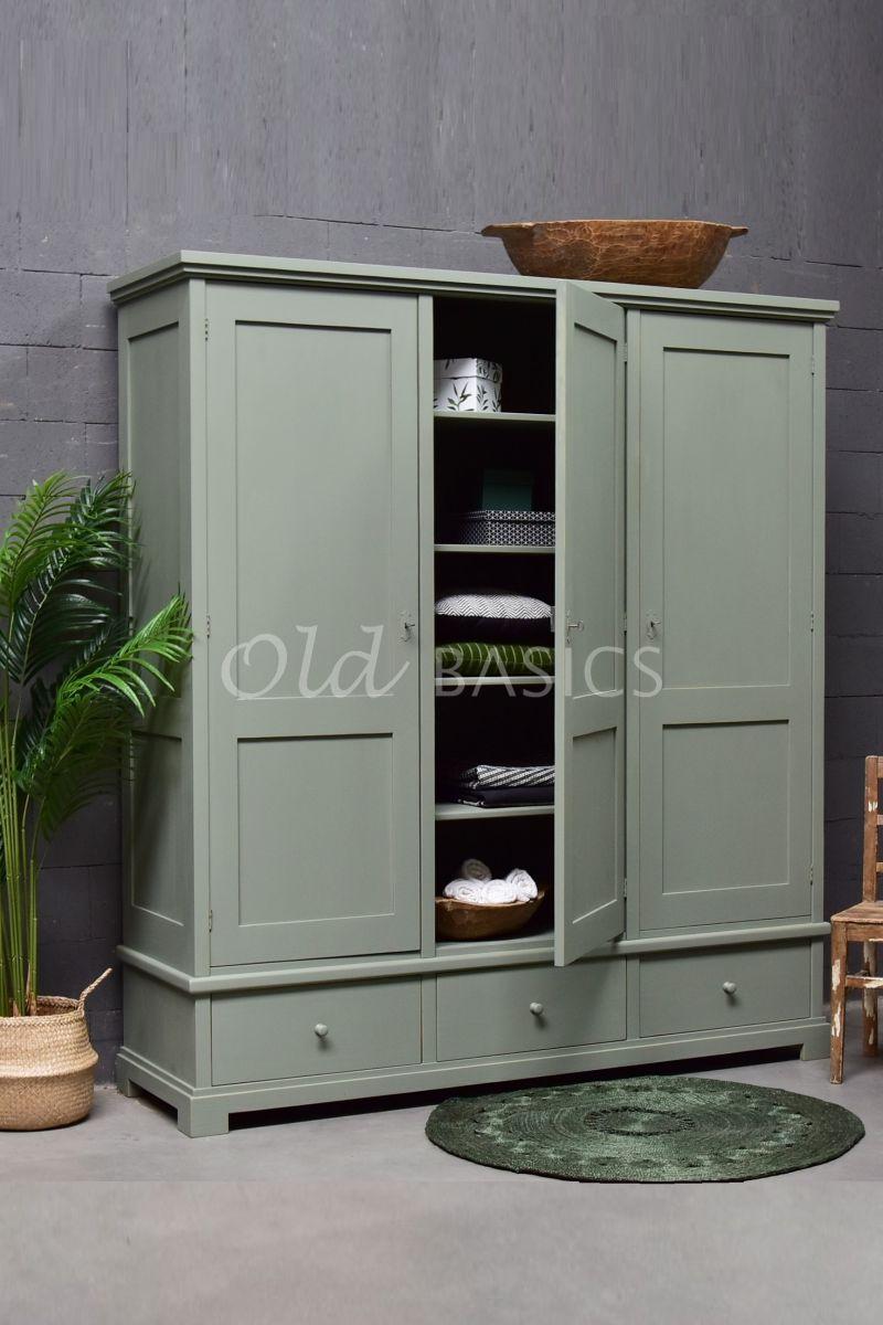 Linnenkast Avignon, 3 deuren, RAL7033, grijs, groen, materiaal hout