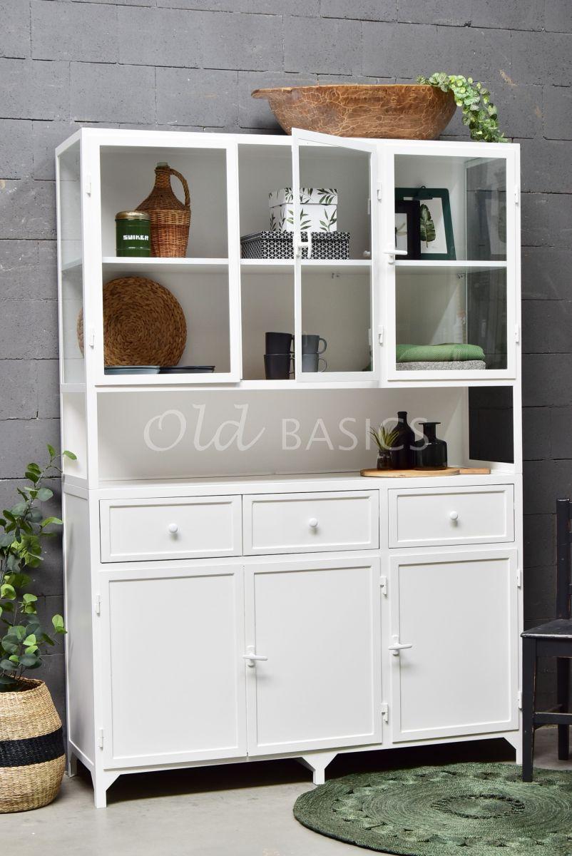 Apothekerskast Fio, 3 deuren, RAL9003, wit, materiaal staal