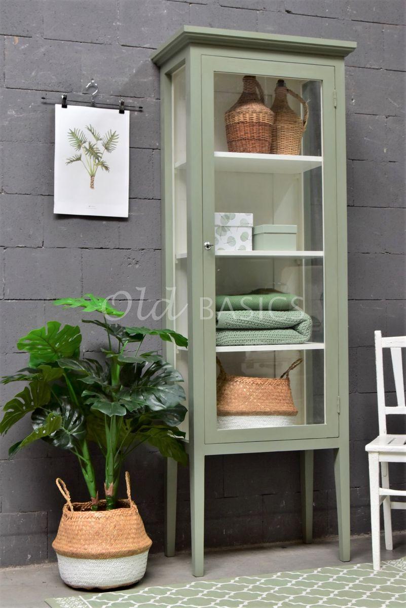 Vitrinekast Odille, 1 deuren, RAL7033, groen, grijs, materiaal hout
