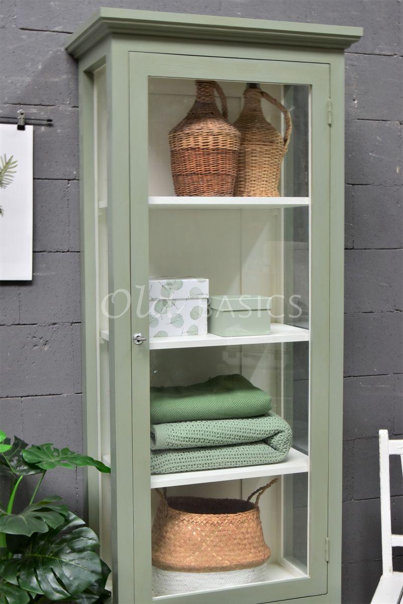 Detail van Vitrinekast Odille, 1 deuren, RAL7033, groen, grijs, materiaal hout