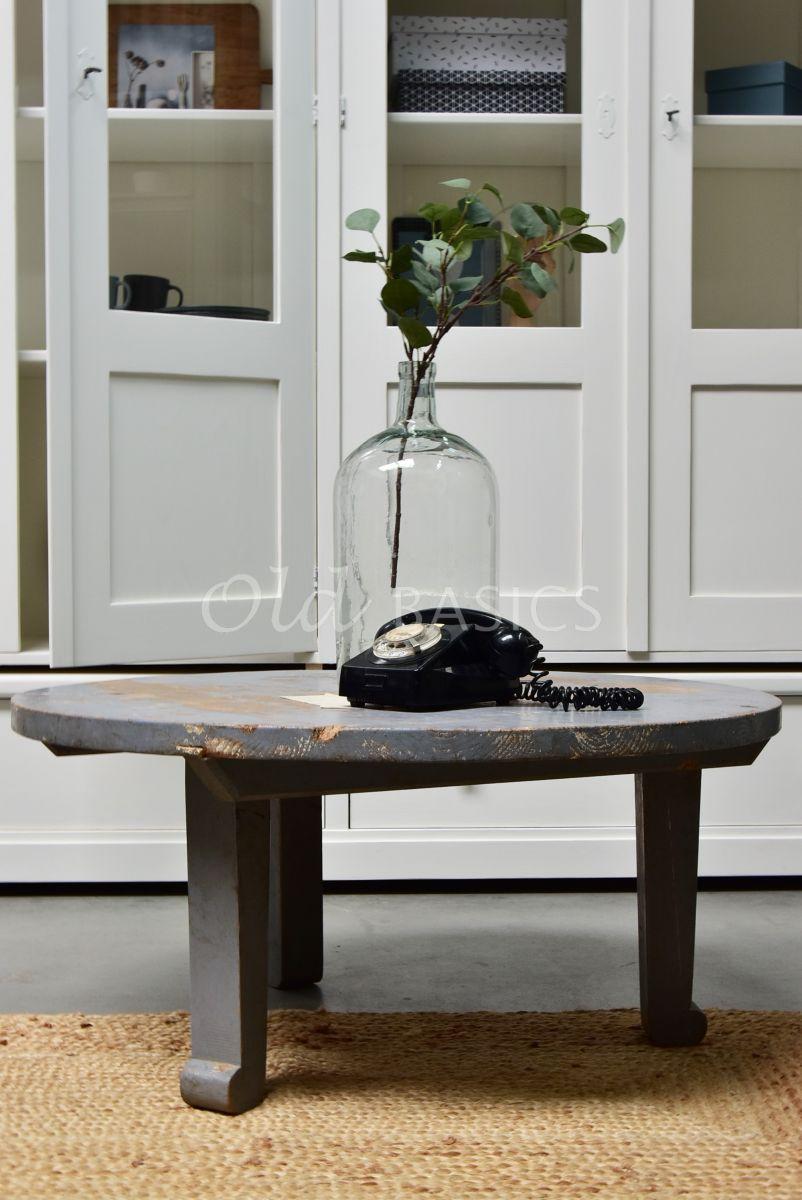 Detail van Salontafel rond, grijs, materiaal hout