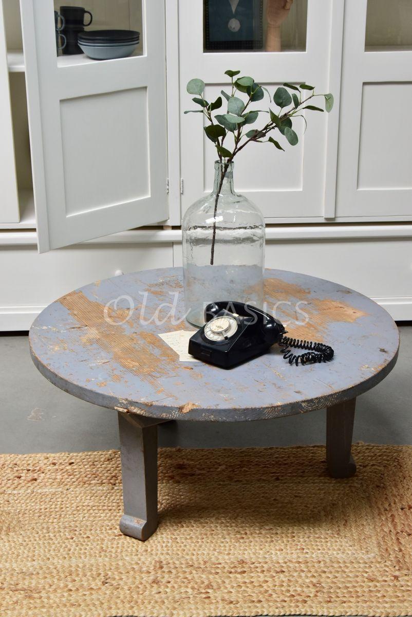 Salontafel rond, grijs, materiaal hout