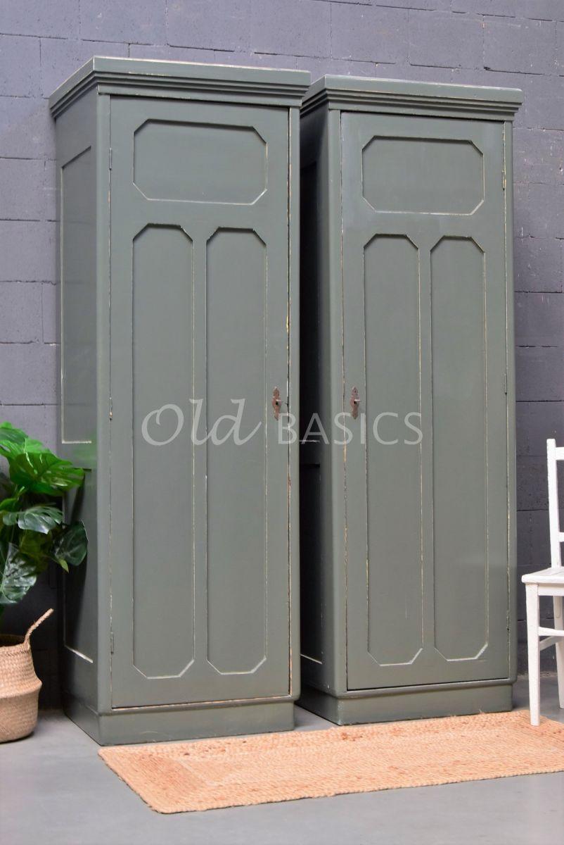 Smalle kast (links), groen, grijs, materiaal hout