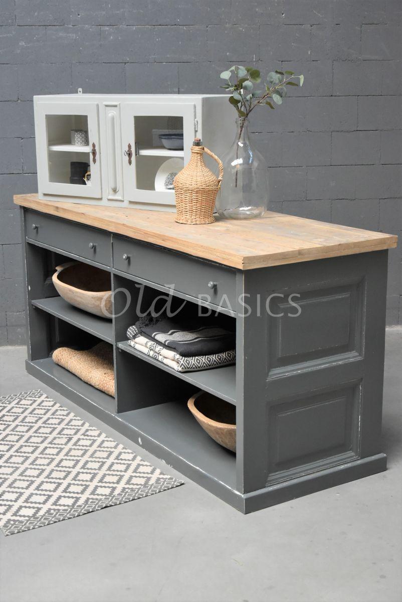 Toonbank, grijs, naturel, materiaal hout