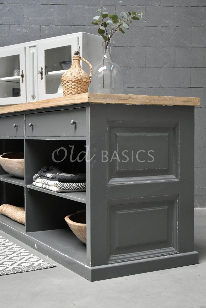 Detail van Toonbank, grijs, naturel, materiaal hout