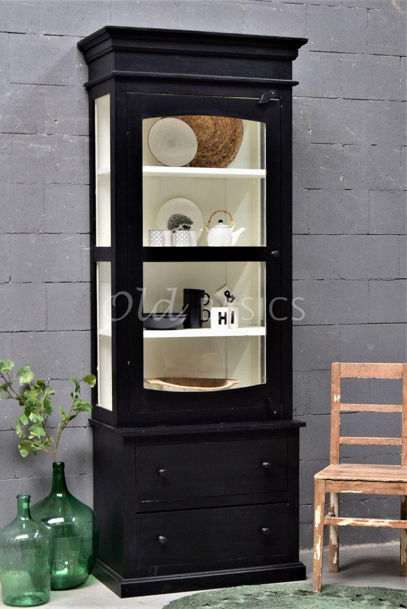 Vitrinekast Ines, 1 deuren, RAL9005, zwart, materiaal hout