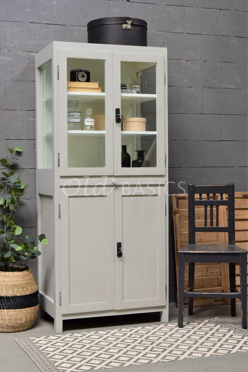 Vitrinekast Orly, 2 deuren, RAL7044, grijs, materiaal hout