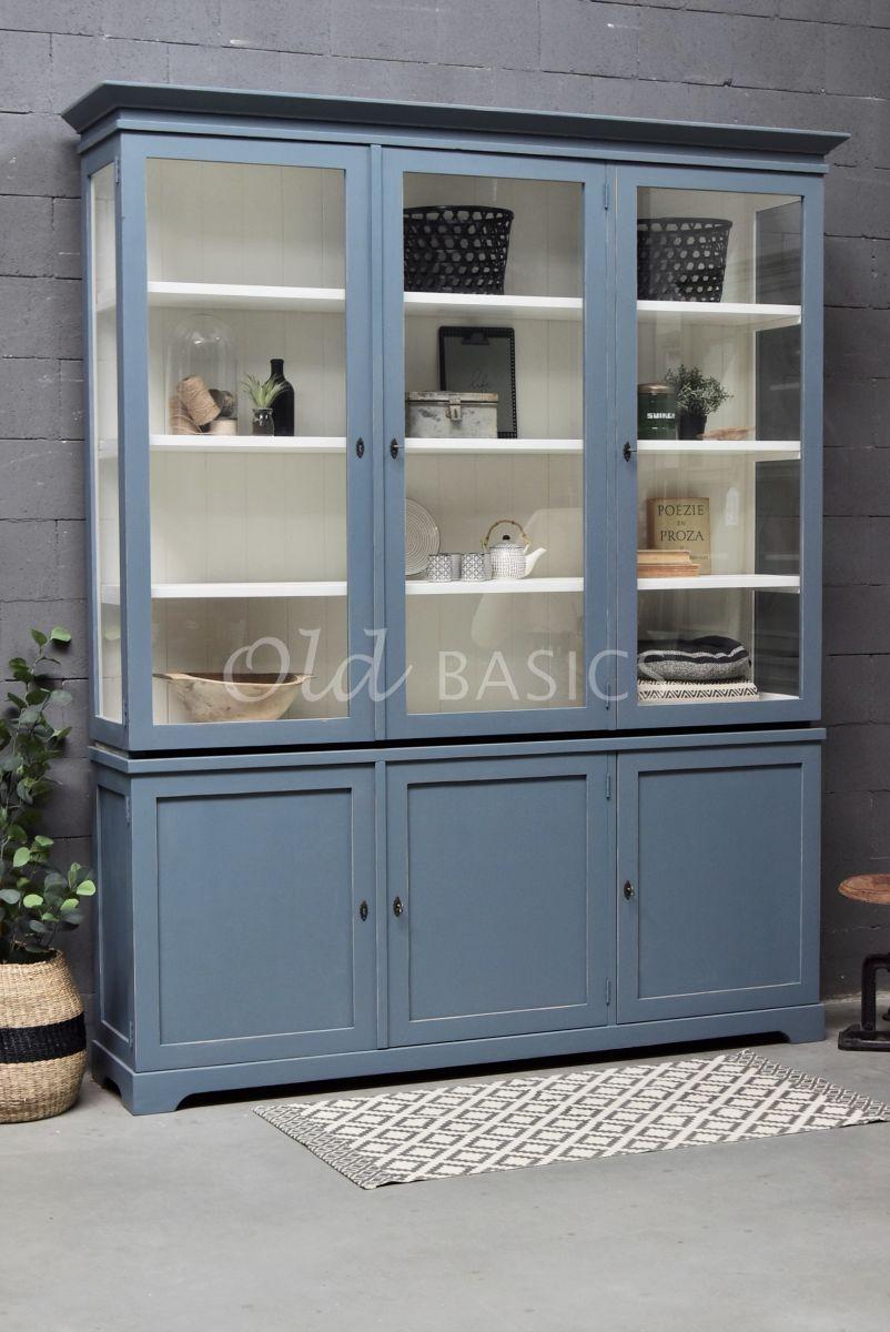 Vitrinekast Grenoble, 3 deuren, RAL7031, blauw, grijs, materiaal hout