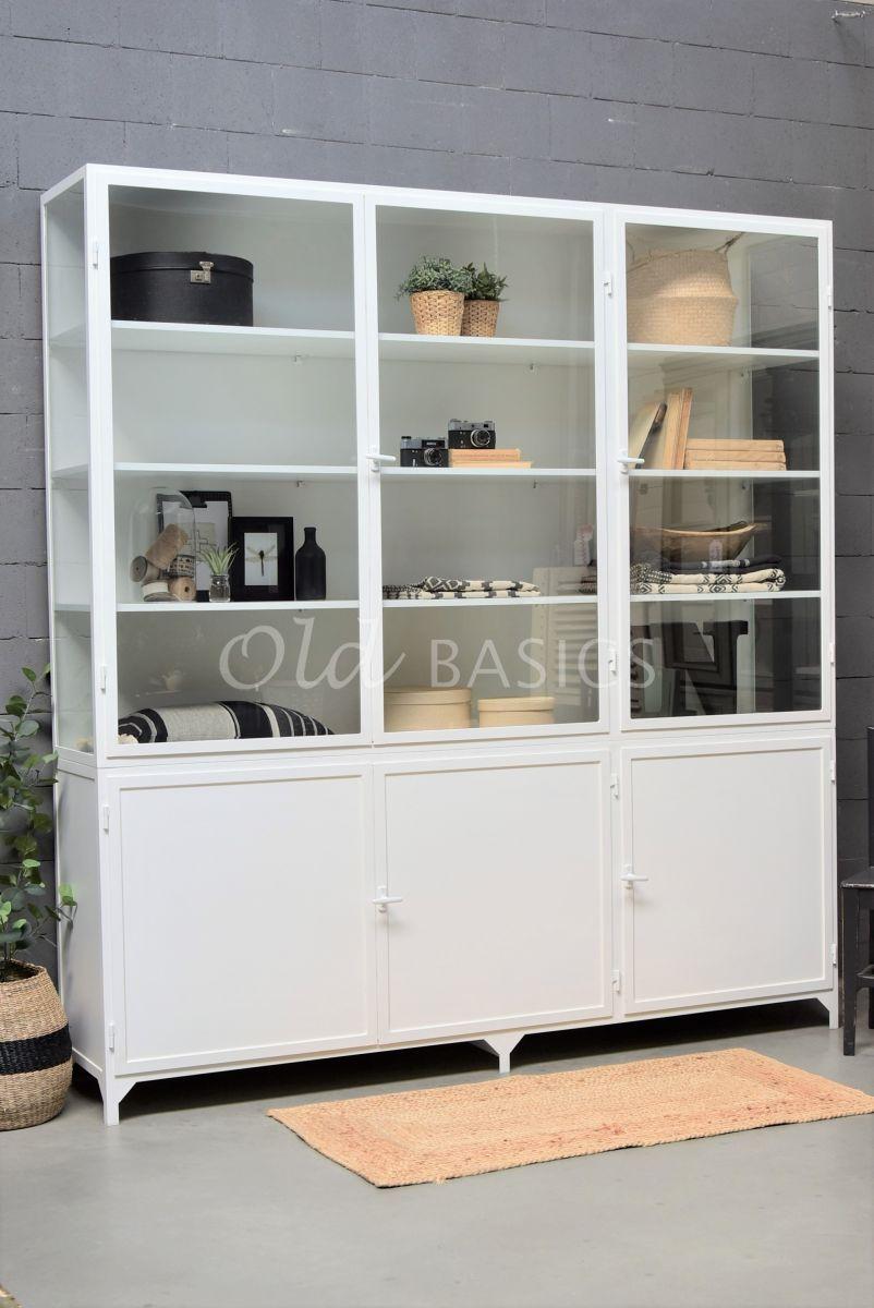 Apothekerskast Demi, 3 deuren, RAL9016, wit, materiaal staal