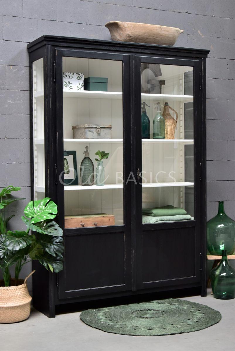 Vitrinekast Artistique, 2 deuren, RAL9005, zwart, materiaal hout