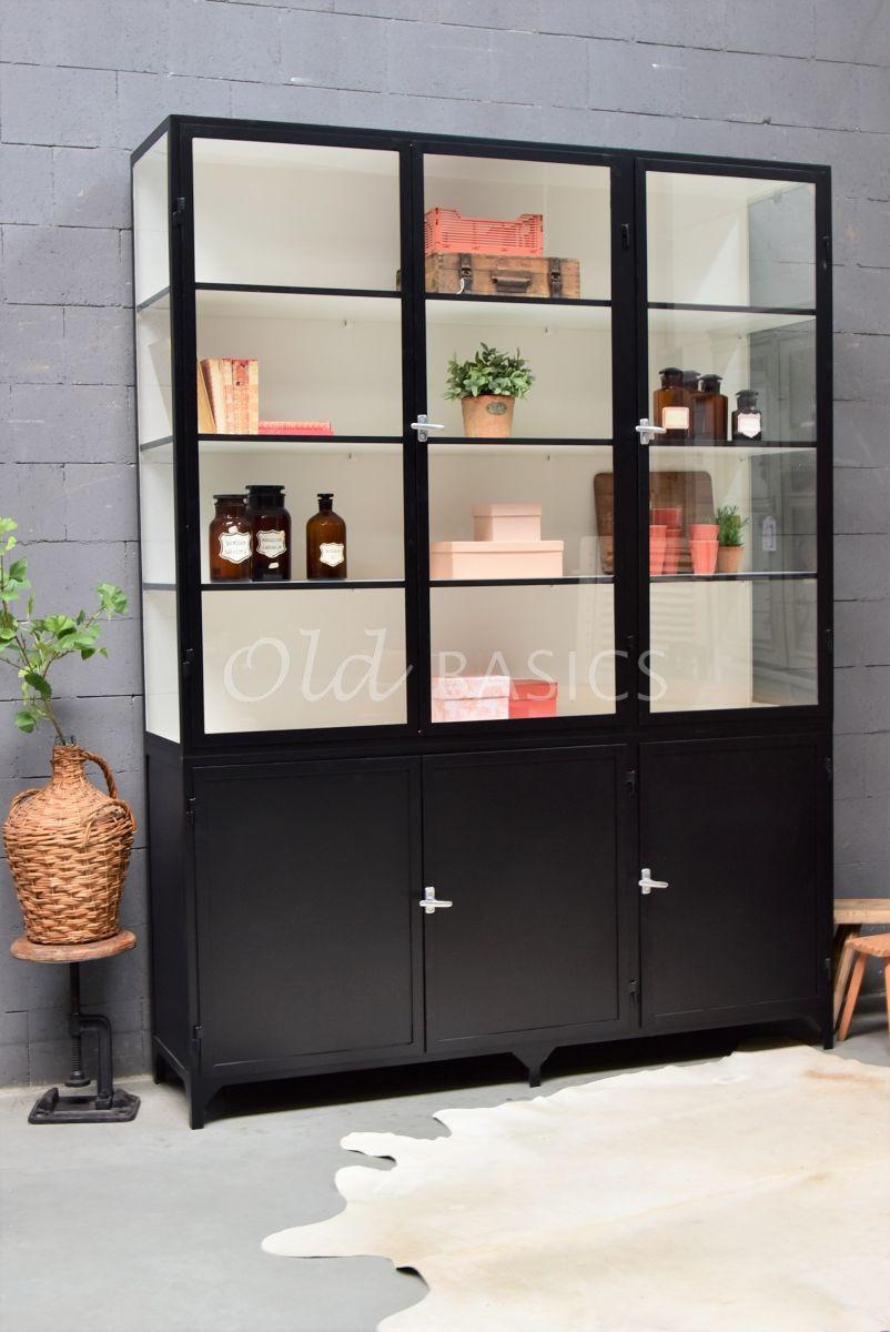 Apothekerskast Demi, 3 deuren, RAL9005, zwart, materiaal staal
