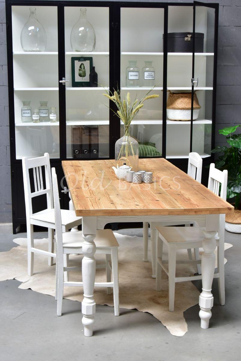 Eettafel Rustique, 9016 deuren, wit, naturel, materiaal hout