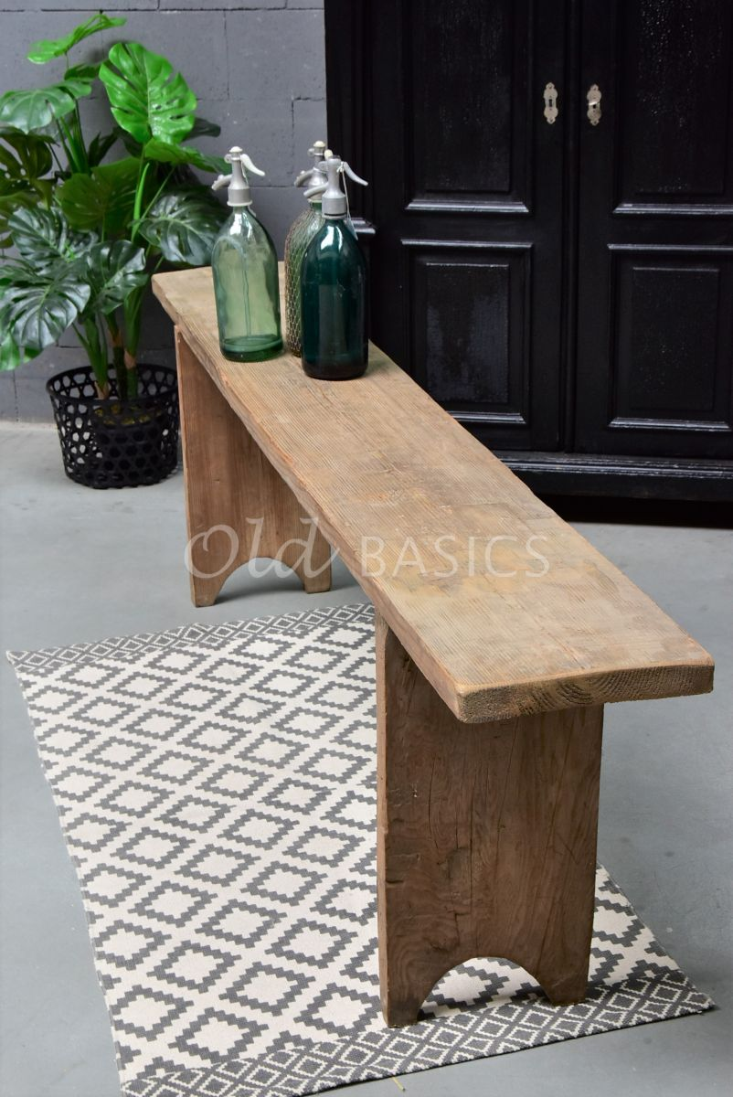 Detail van Houten bank, naturel, materiaal hout