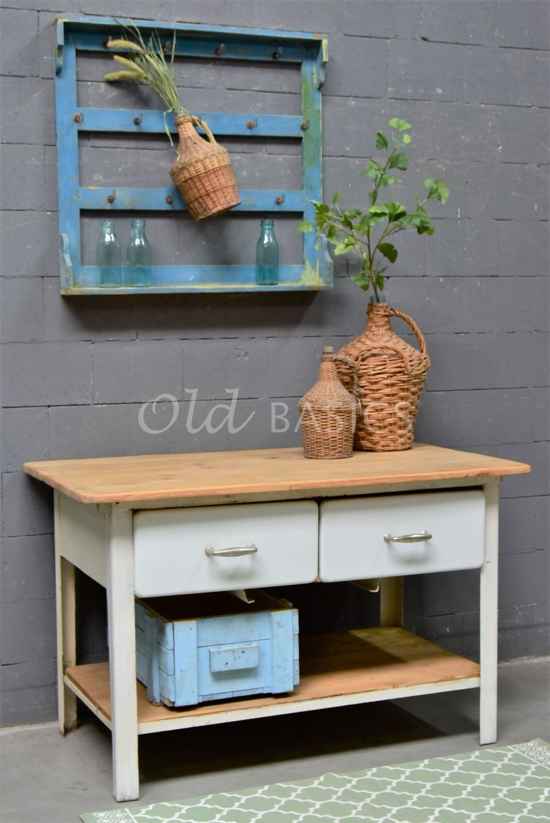 Sidetable, wit, naturel, materiaal staal