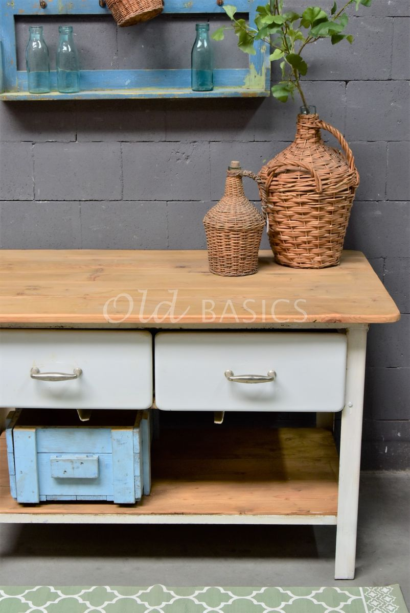 Detail van Sidetable, wit, naturel, materiaal staal
