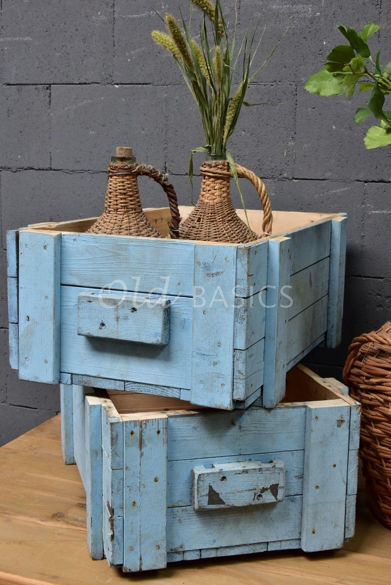 Houten bak, blauw, materiaal hout