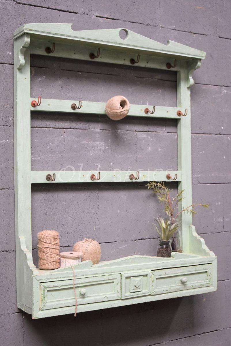 Wandrek, groen, materiaal hout