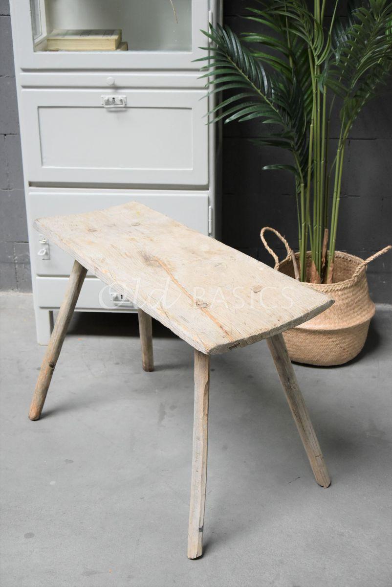 Detail van Houten bankje, naturel, materiaal hout