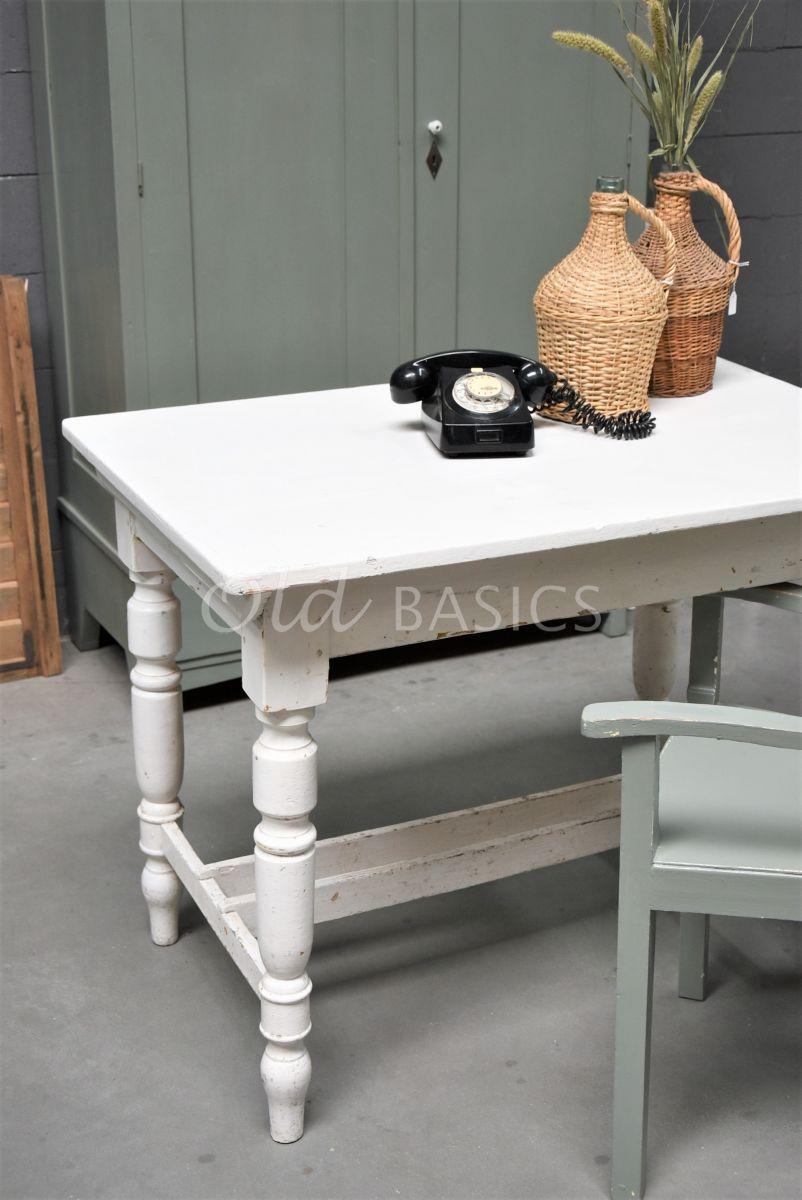 Detail van Bureau, wit, materiaal hout