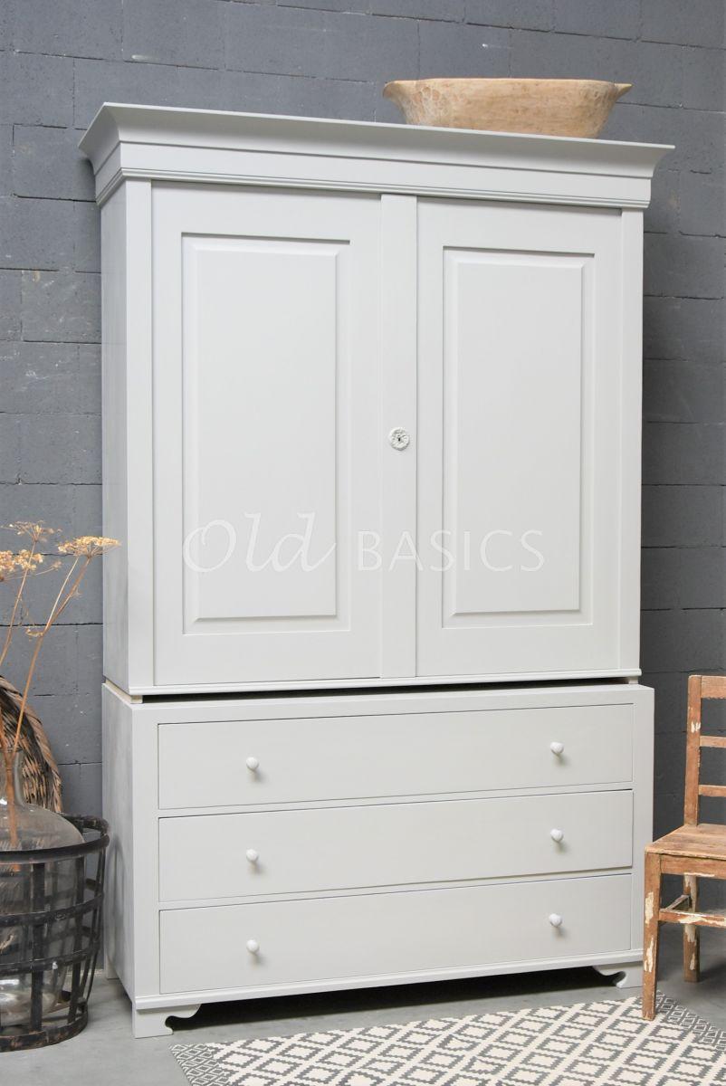Zweedse kast, 2 deuren, RAL7044, grijs, materiaal hout