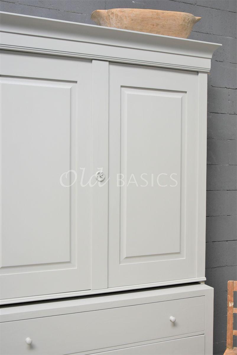 Detail van Zweedse kast, 2 deuren, RAL7044, grijs, materiaal hout