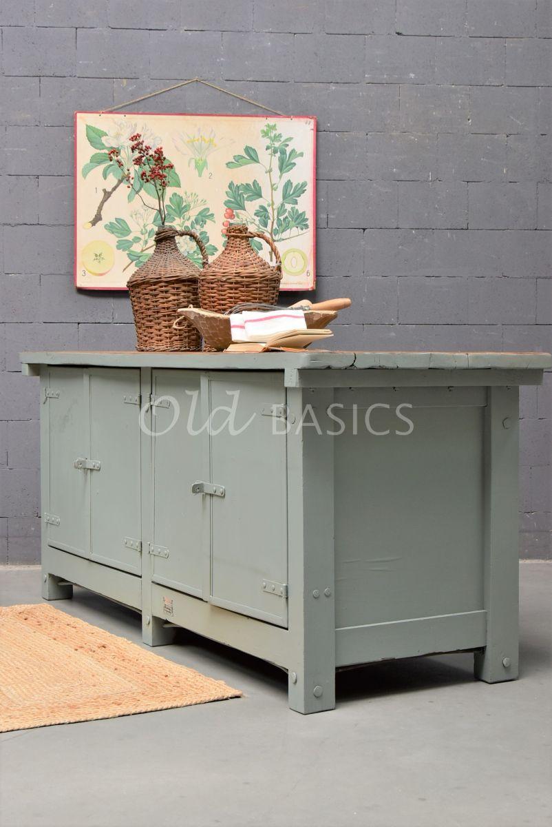 Detail van Toonbank, groen, grijs, materiaal hout