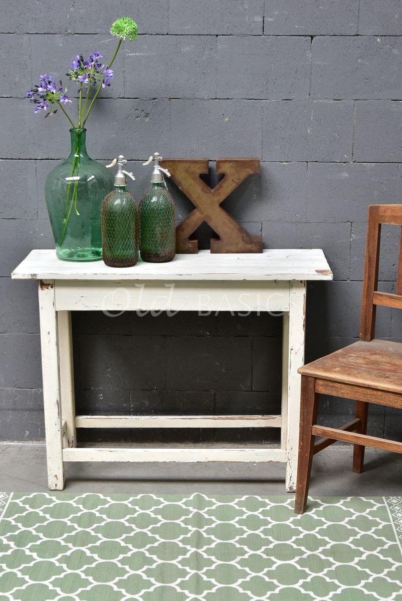 Detail van Sidetable, crème, wit, materiaal hout