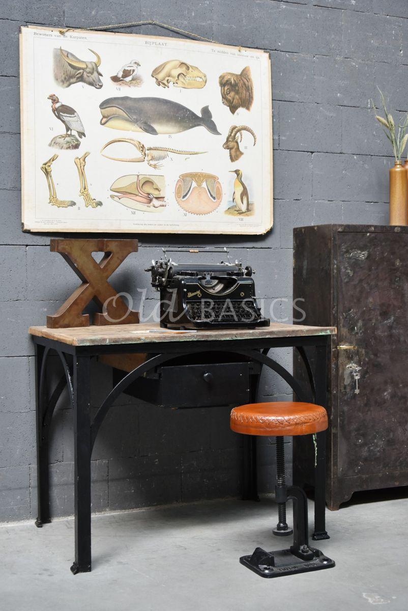 Bureau, zwart, naturel, materiaal staal