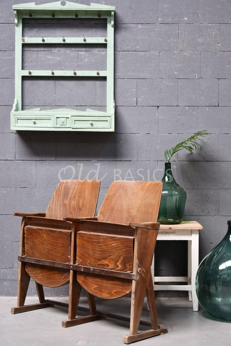 Brocante bioscoop stoel, naturel, materiaal hout