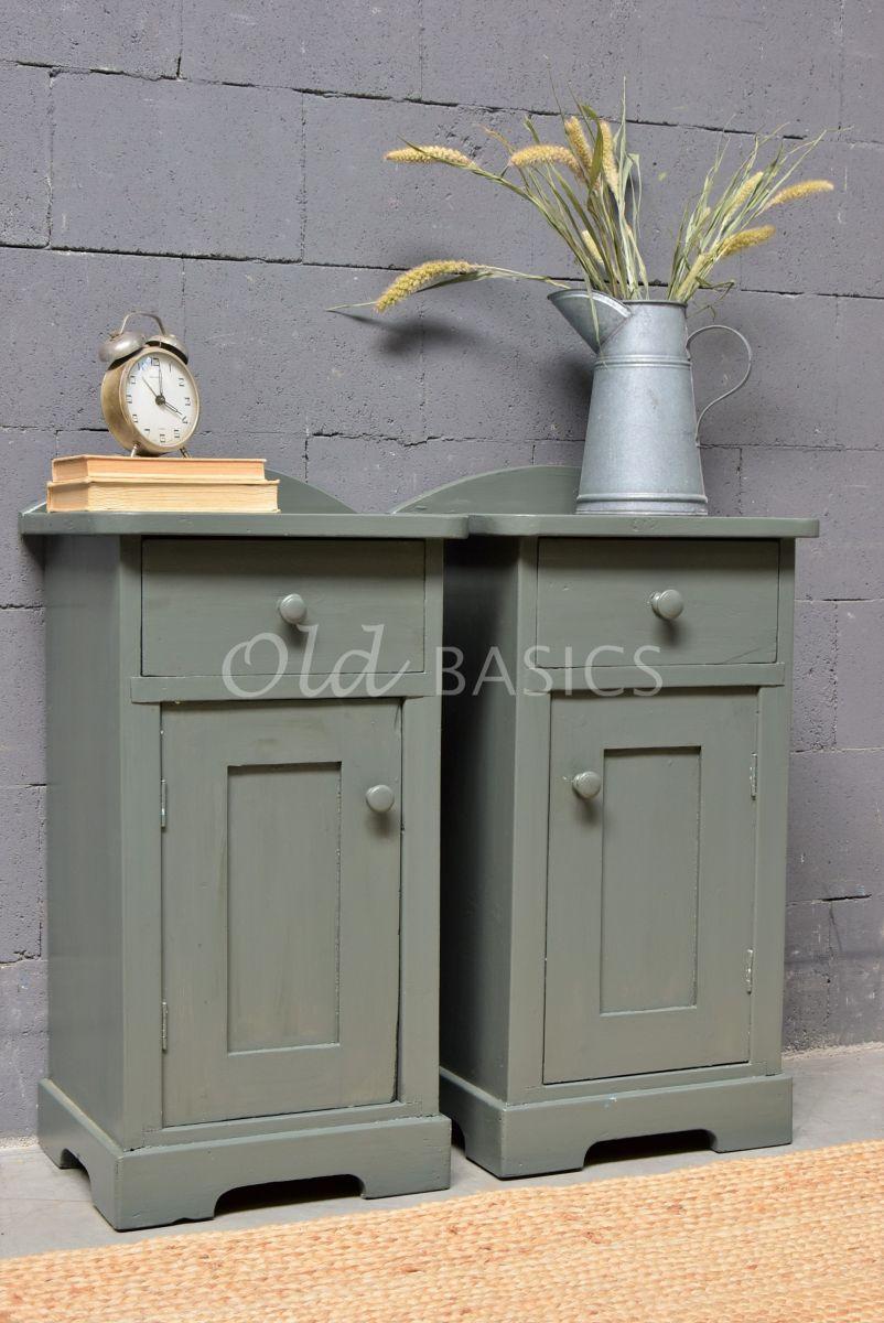 Set nachtkastjes, groen, grijs, materiaal hout