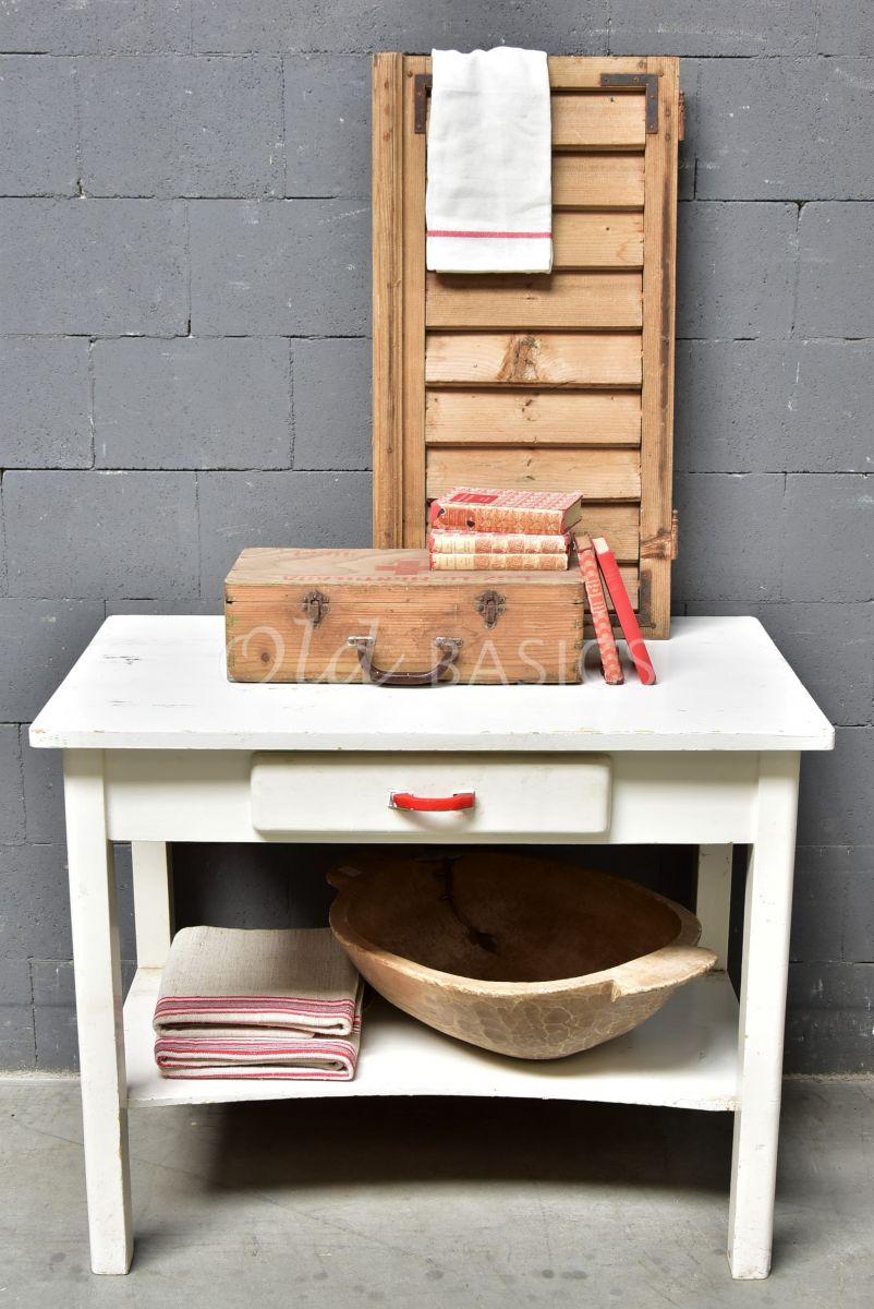 Detail van Sidetable, wit, materiaal hout