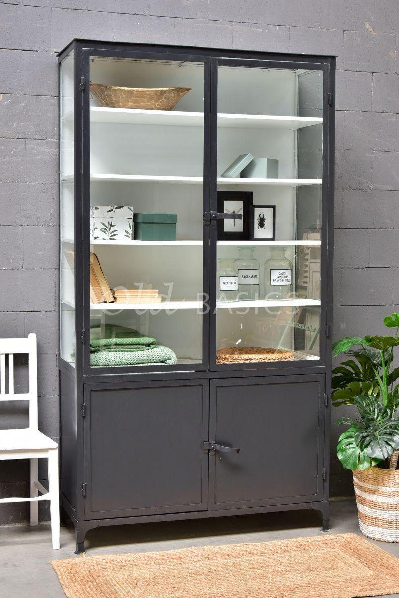 Apothekerskast, zwart, grijs, materiaal staal