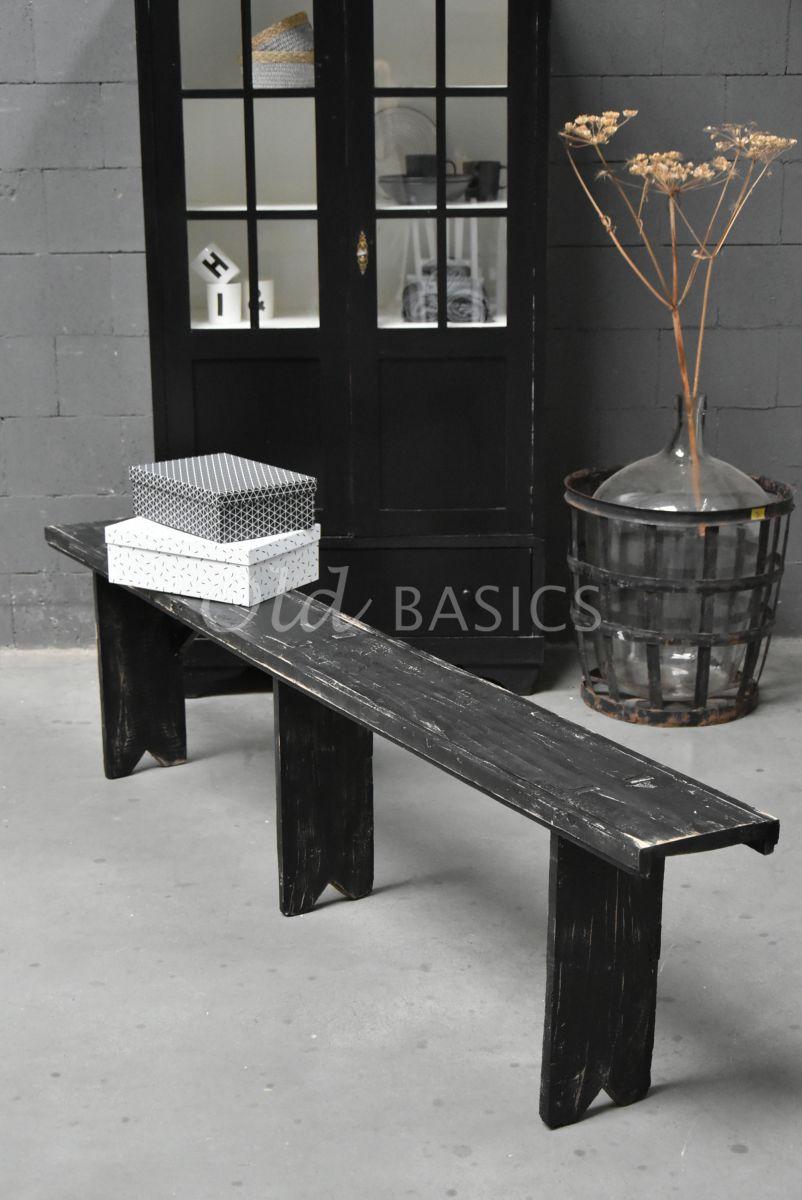 Houten bank, zwart, materiaal hout