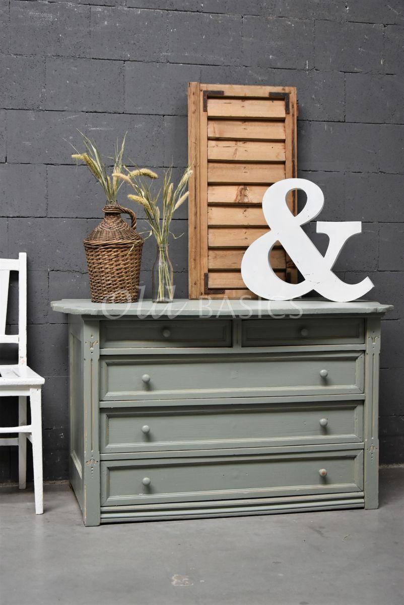Onderkast, groen, grijs, materiaal hout