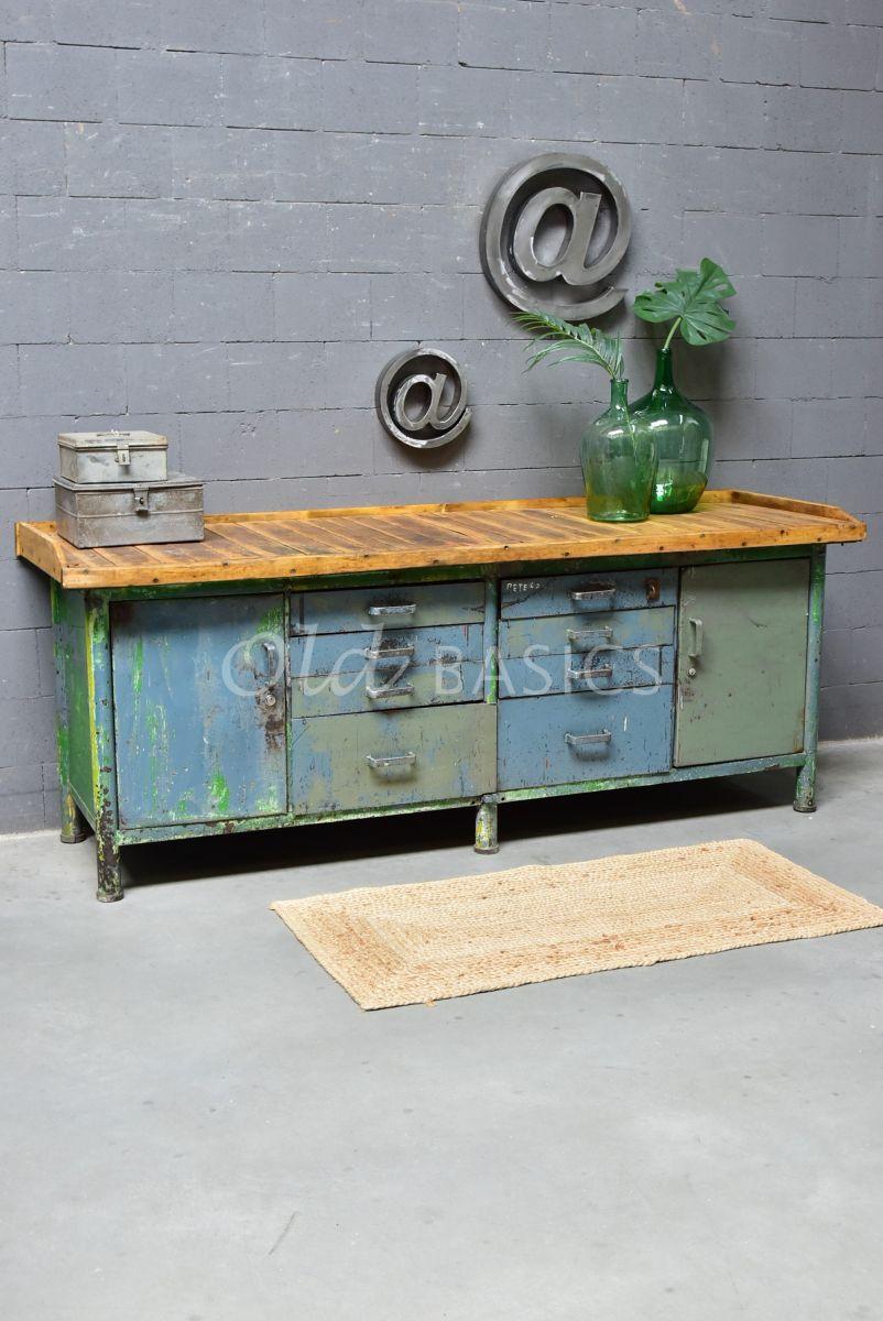 Werkbank, blauw, groen, materiaal staal